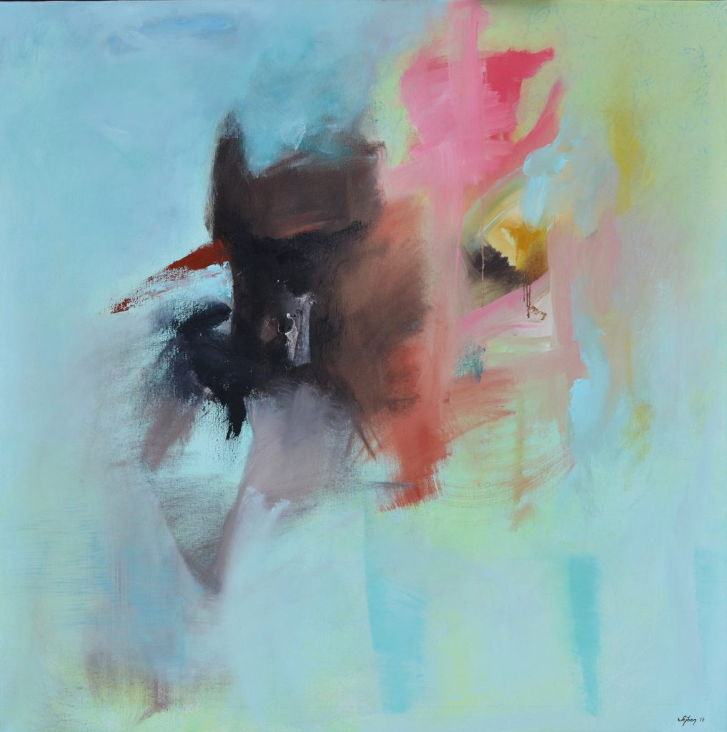 Műteremben 99x99cm olaj ,akril ,vászon 2017 In studio oil,acrilyc on canvas