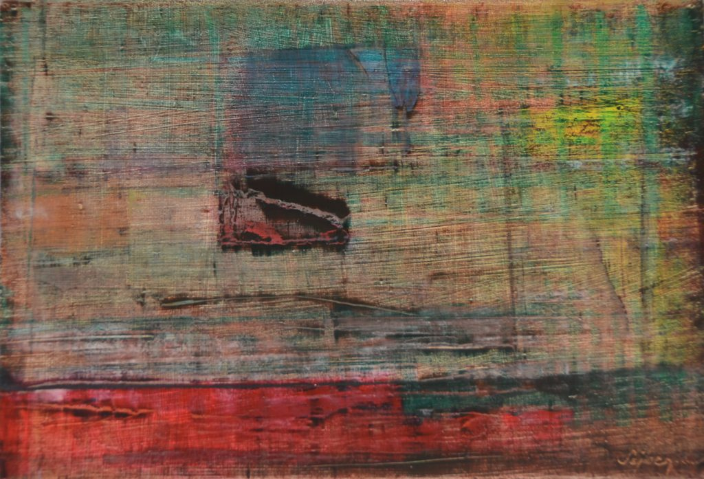Reflexiók-Reflexions IV. olaj, farost, 22x32 cm, oil, woodfibre,