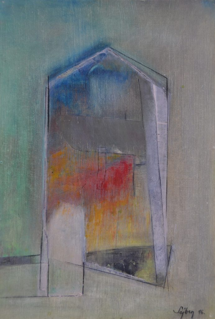 Édes otthon-Sweet home, olaj, farost, 32x22 cm oil, woodfibre,